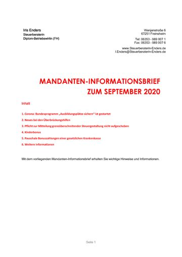2020 - 09 - Mandanteninformationsbrief Cover