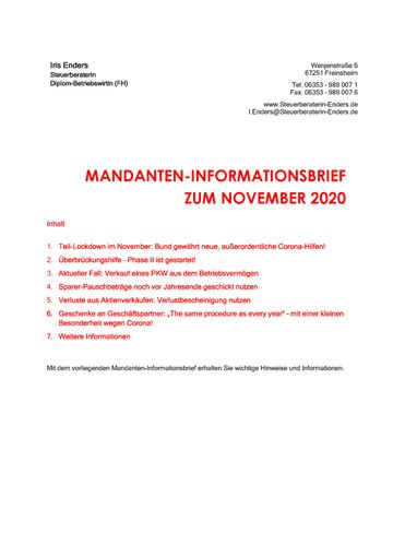 2020 - 11 - Mandanteninformationsbrief Cover