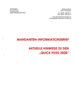 2019-12 - Mandanteninformationsbrief Quick Fixes - Cover